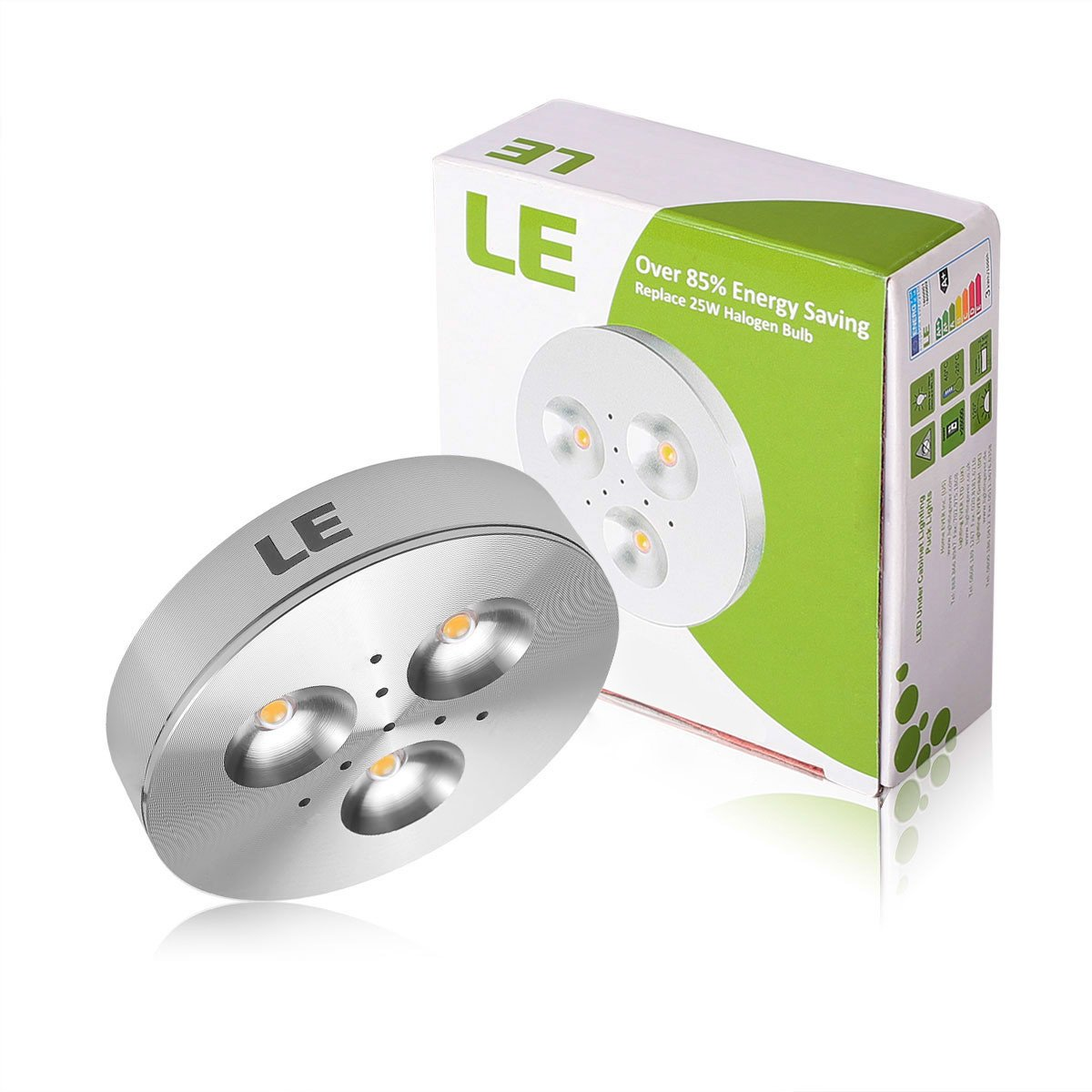 Le 5 pack led under cabinet lighting brightest puck lights 12v le 5 pack led under cabinet lighting brightest puck lights 12v dc under counter lighting 25w halogen replacement 240lm warm white amazon mozeypictures Gallery