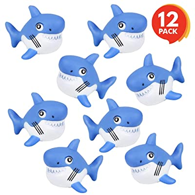 ArtCreativity Rubber Squirting Sharks for Kids - Pack of 12 Bath Tub Squirts and Pool Toys for Toddlers, Safe and Durable Water Squirters, Birthday Party Favors, Piñata Fillers, Goodie Bag Stuffers: Toys & Games