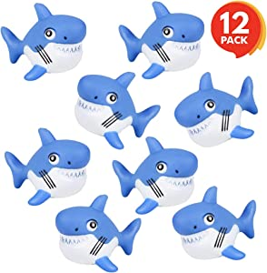 ArtCreativity Rubber Squirting Sharks for Kids - Pack of 12 Bath Tub Squirts and Pool Toys for Toddlers, Safe and Durable Water Squirters, Birthday Party Favors, Piñata Fillers, Goodie Bag Stuffers