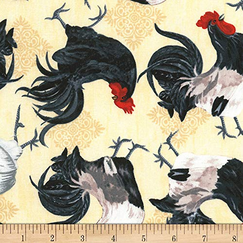 (Timeless Treasures Rise and Shine Tossed Roosters Latte Fabric by The Yard)