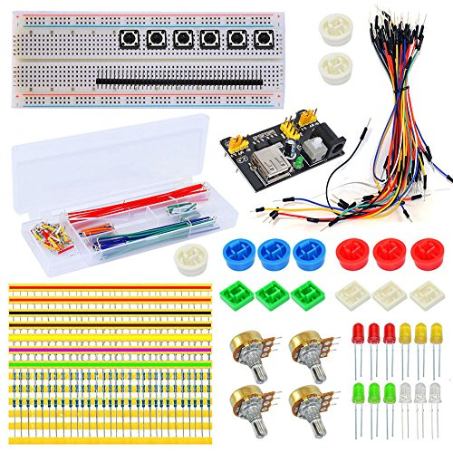 Tolako Electronic Part Kit for Arduino Starter Breadboard,Dupont Cable,Resistors, LED, Jumper Wires Universal Components Kit DIY Element Kit