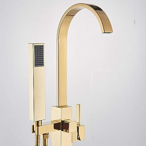 Rozin Gold Bathtub Faucet Floor Mounted Single Handle Bathroom Tub Filler Faucet with Handheld Sprayer