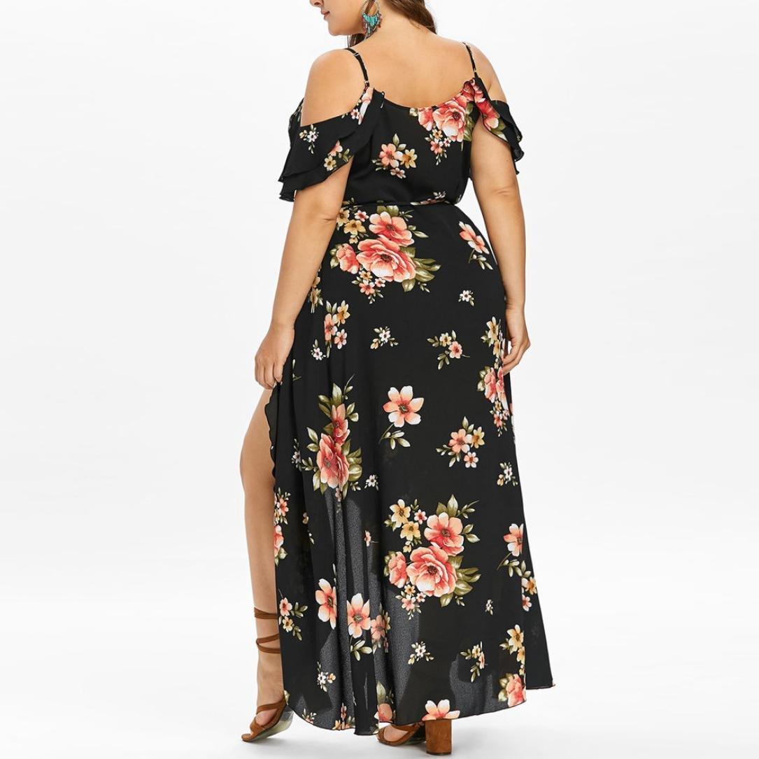 ca0f9abe38f44 Women Summer Plus Size Boho Floral Dress Casual Short Sleeve Cold Shoulder  Sling Beach Long Maxi Dresses