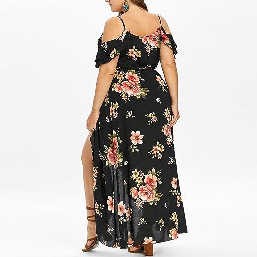 959450ed038 Amazon.com  Women Summer Plus Size Boho Floral Dress Casual Short Sleeve  Cold Shoulder Sling Beach Long Maxi Dresses  Sports   Outdoors