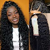 9A Deep Curly Wave Human Hair Lace Front Wigs Pre Plucked with Baby Hair Brazilian Remy Lace Front Human Hair Wigs for Black Women Unprocessed Deep Wave Full End Lace Frontal Wigs Human Hair Wigs