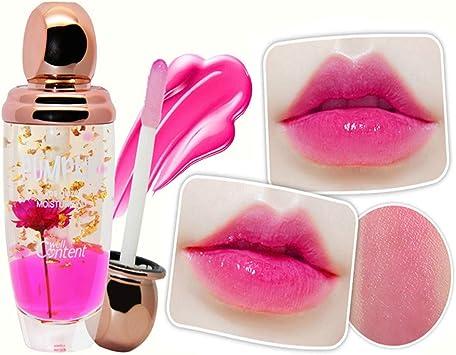 Xiton 1pc Fleur Huile essentielle Lip Gloss Rouge à lèvres clair Changement de température Hydratant Lip Gloss Ingrédients Baume à lèvres Soins de