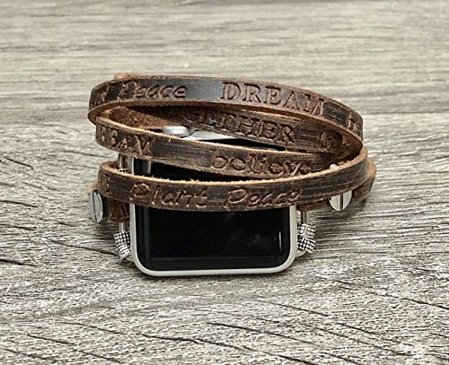 - Brown Leather Strap For Apple Watch Series 1 2 & 3 (42mm Size) Handcrafted Multi Wrap Adjustable Size Bracelet Apple Watch Band With Metal Buckle Clasp Embossed Inspirational Words