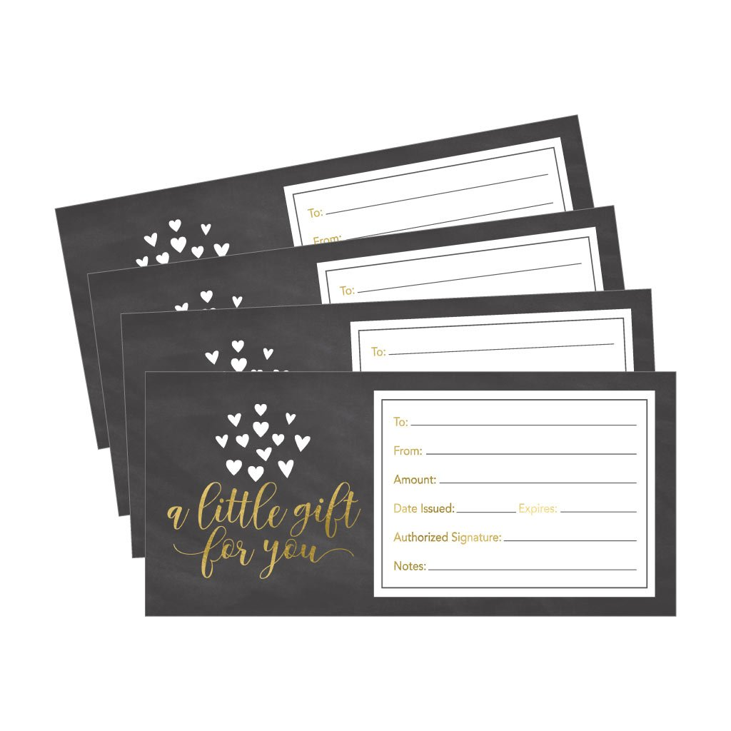 25 4x9 Cute Rustic Blank Gift Certificate Cards For Business, Modern Restaurant, Spa, Beauty Makeup Hair Salon, Wedding, Bridal, Baby Shower Print Custom Personalized Bulk Template Kit Forms Printable