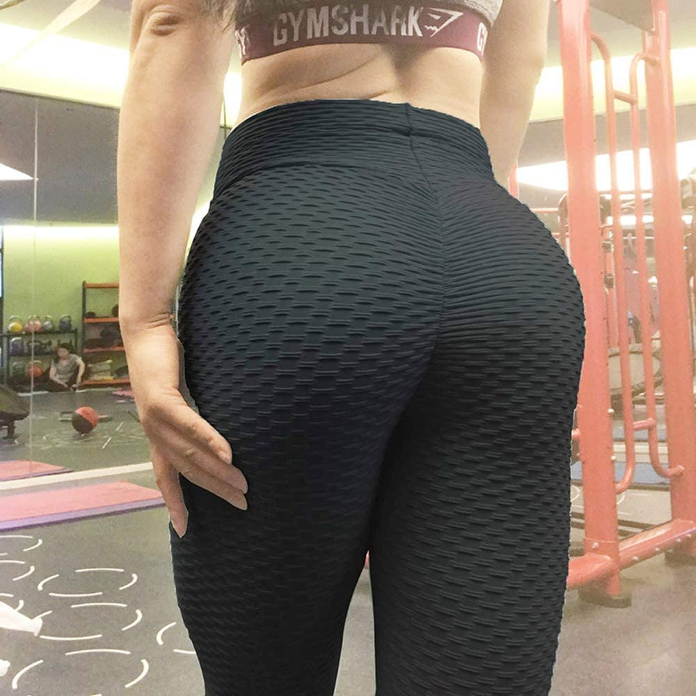 Black, S Booty Lifting x Anti-Cellulite Leggings-Womens High Waist Ruched Butt Lifting Slimming Leggings Textured Stretchy Skinny Yoga Pants Thights