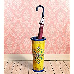 Vintage Rustic Hand Painted Wooden Umbrella Stand Entryway Freestanding Umbrella Holder Rack Organizer for Canes/Walking Home and Office Decor - Pine Wood (Yellow)