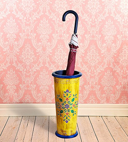 Wooden Umbrella Stand - Vintage Rustic Hand Painted Wooden Umbrella Stand Entryway Freestanding Umbrella Holder Rack Organizer for Canes/Walking Home and Office Decor - Pine Wood (Yellow)