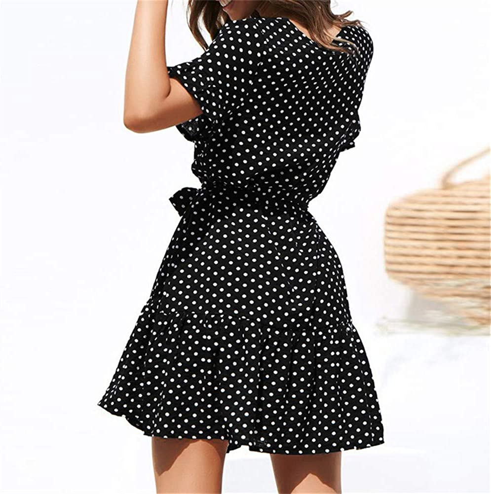 TTMOW Womens Polka Dot Dress Summer V Neck Button Down Short Sleeve Ruffle Mini Dresses with Belt