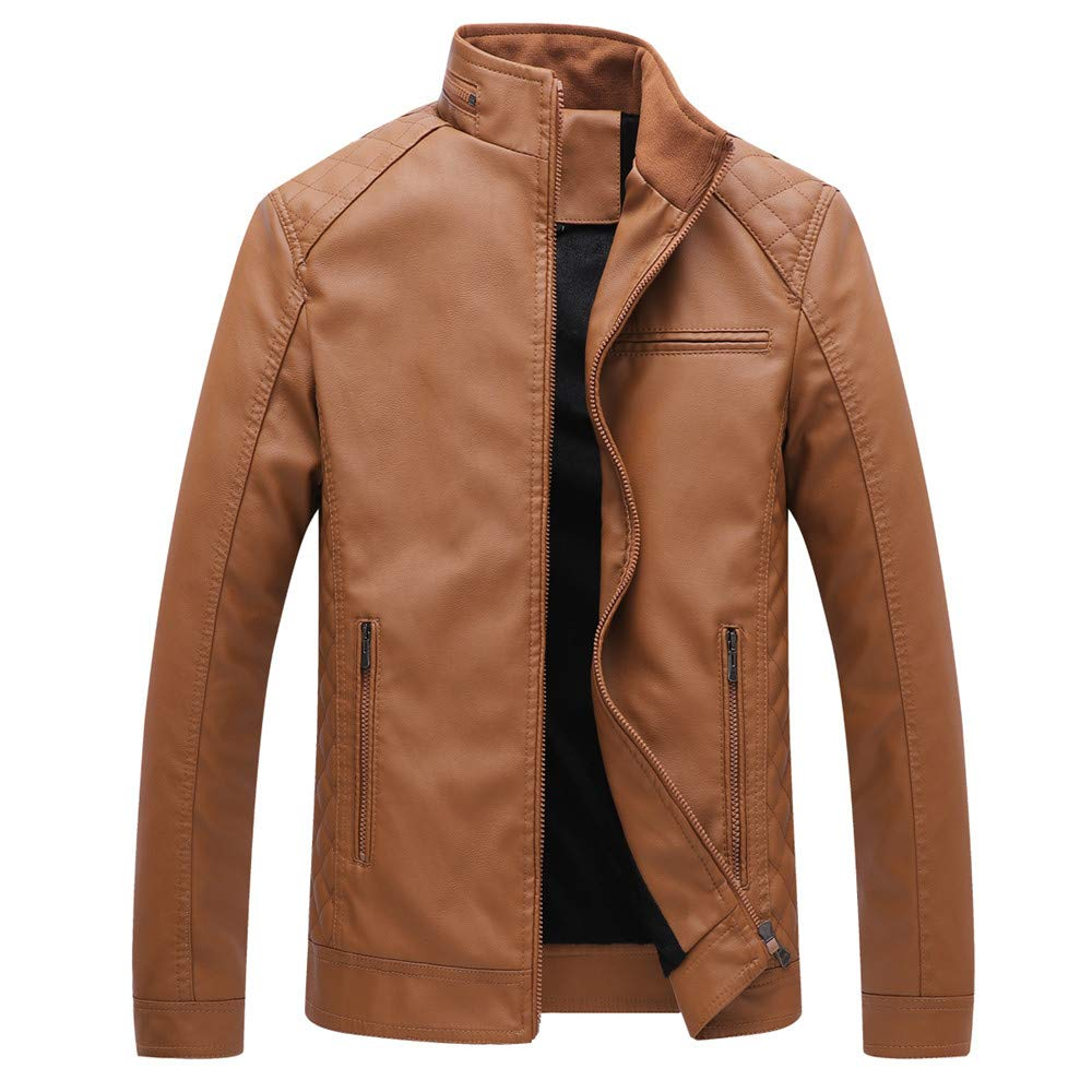 Allywit Men's Vintage Stand Collar Leather Jacket Motorcycle PU Jacket Outerwear with Fleece Lined