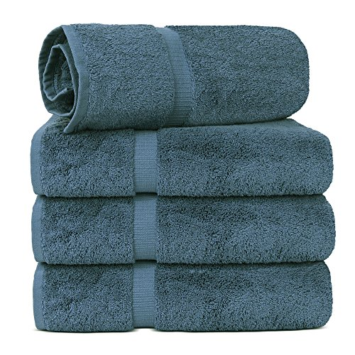 (TURKUOISE TURKISH TOWEL % 100 Turkish Cotton Luxury and Super Soft Towels (Bath Towel 4PK, True Blue))