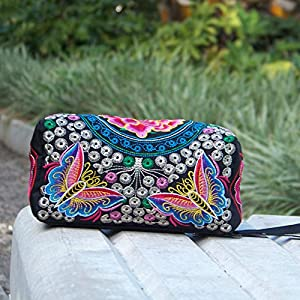 Women Wallet,kaifongfu Ethnic Handmade Embroidered Clutch Bag Vintage Purse (Hot Pink style)