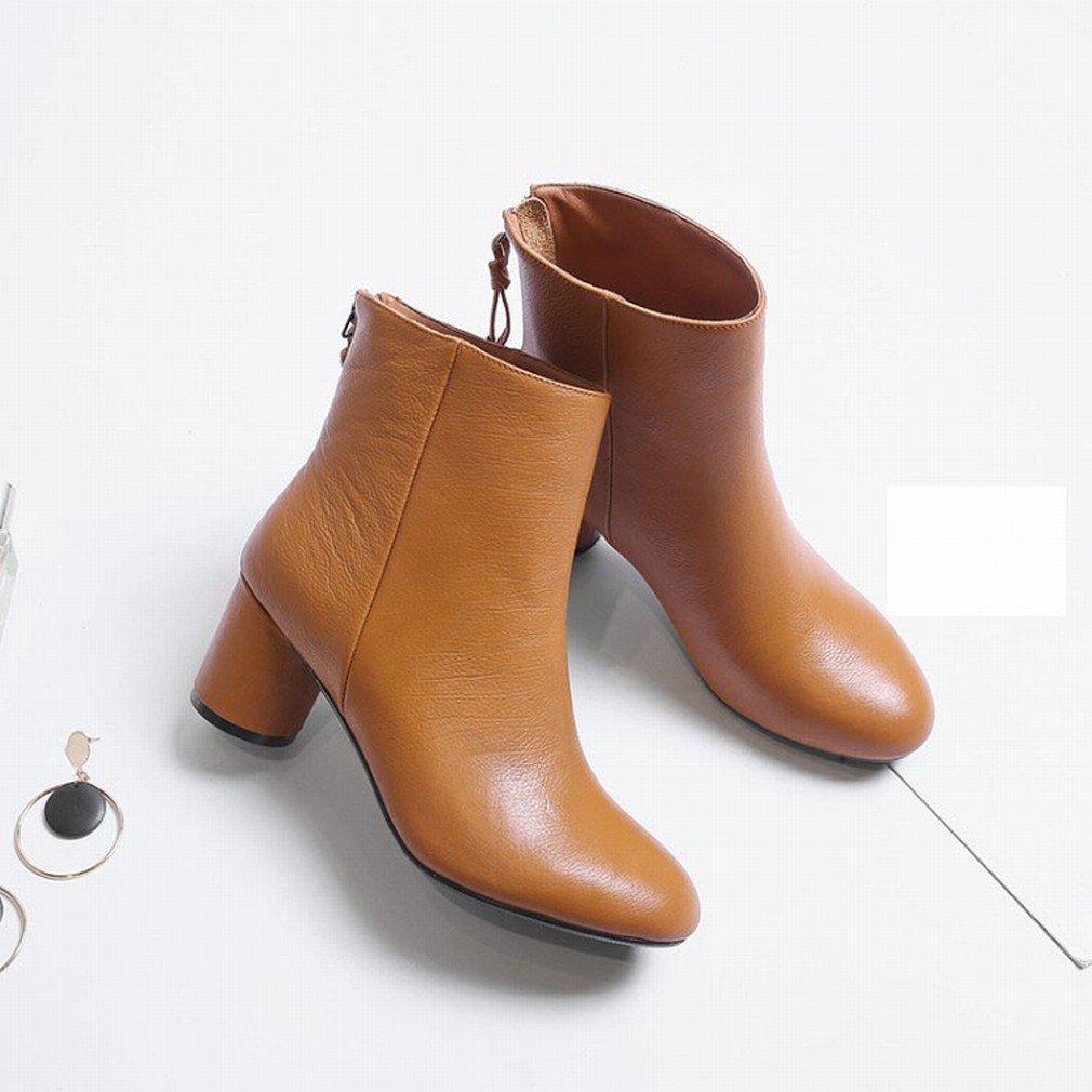 GZZ Europäische und Amerikanische Herbst Herbst Herbst und Winter Martin Stiefel Frauen Bequeme Runde Reißverschluss Wilden High Heels Schuhe 231cab