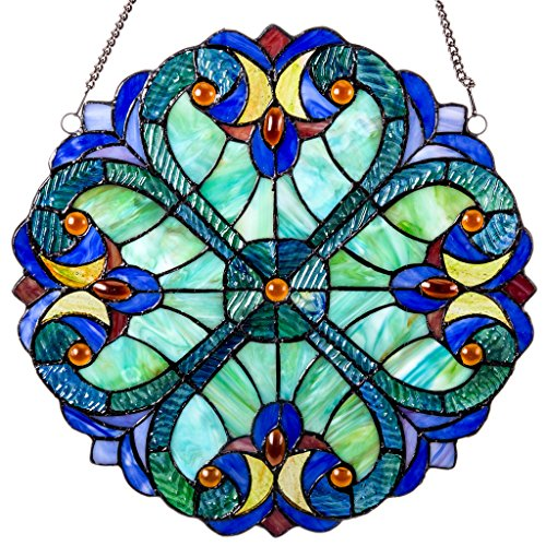(Mini Halston Stained Glass Panel: 12 Inch Decorative Window Hanging Suncatcher - Small Round Tiffany Style Ornament - Blue Heart Decoration for the Wall or Windows with Green, Yellow and Red Accents)