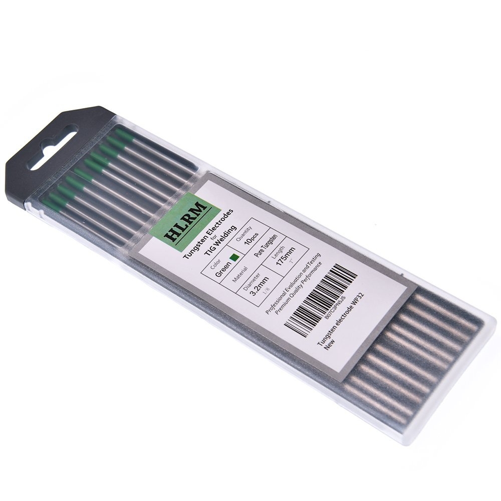 "Green, WP24) HLRM TIG Welding Tungsten Electrode Pure Tungsten 3//32/"" x 7/"" 10 Rods"