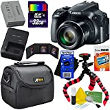Canon Powershot SX60 HS 16.1MP Digital Camera 65x Optical Zoom with tilt LCD screen, Wi-Fi & NFC Enabled (Black) International Version + 9pc 32GB Accessory Kit w/ HeroFiber Gentle Cleaning Cloth