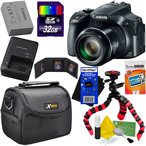 Canon Powershot SX60 HS 16.1MP Digital Camera 65x Optical Zoom tilt LCD Screen, Wi-Fi & NFC Enabled (Black) International Version + 9pc 32GB Accessory Kit w/HeroFiber Gentle Cleaning Cloth