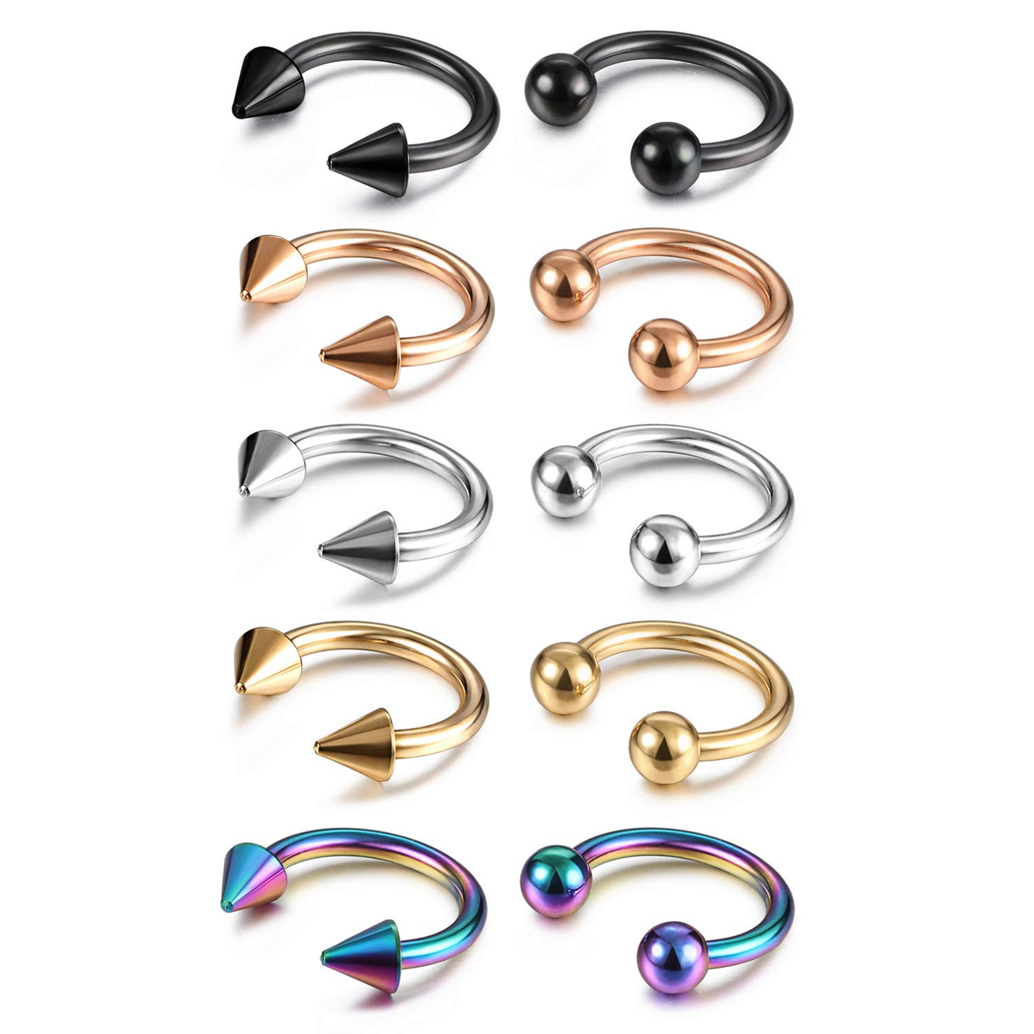 Evevil 14G Stainless Steel Septum Nose Ring Mixed 10 Pieces Septum Jewelry Set Horseshoe Hoop Earrings EV18JL050020-10P-F
