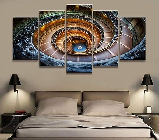 WEMUR Pintura de póster Cuadros modulares para Sala de Estar Cuadros Decorativos Impreso en Lienzo Escalera de Caracol de 5 Paneles Edificio Arte de la Pared, Unframed 40X60 40X80 40X100cm: Amazon.es: Hogar