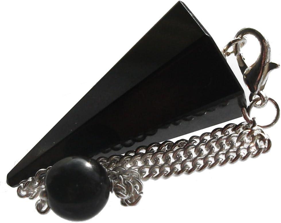 Péndulo cónico de cristal para radiestesia y sanación - gemas naturales genuinas (Onix Negro (Agata Negra))