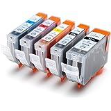 5 Druckerpatronen kompatibel für Canon Pixma ersetzt ip4200, ip4300, ip5200, ip5300 mit Chip