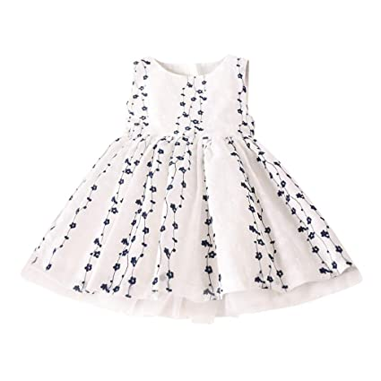 bd94bc50c0ac Amazon.com: Kariwell Toddler Girls Dresses, Kids Baby Girls Clothes Floral  Embroidery Tulle Party Princess Dresses: Sports & Outdoors
