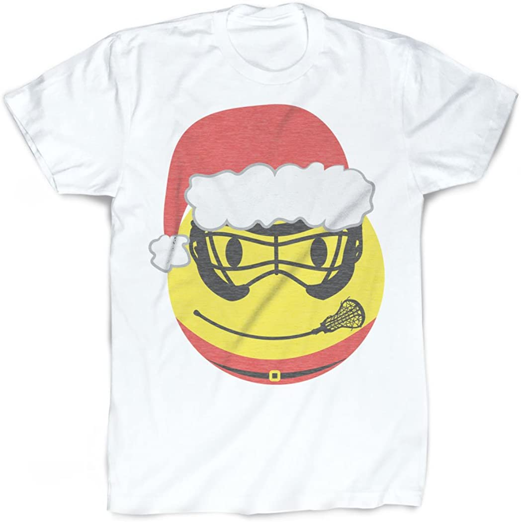 Smiley Face Santa T-Shirt Vintage Faded Lacrosse T-Shirt by ChalkTalkSPORTS
