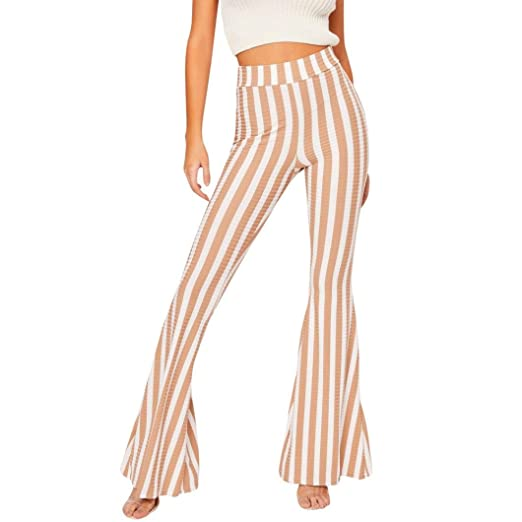 42904c38ff1 Women s High Waist Yellow Striped Wide Leg Long Palazzo Bell Bottom Skinny  Trousers (Yellow