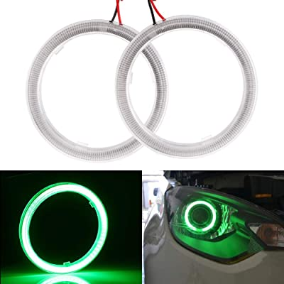 EverBrightt 1-Pair Green 70MM 60SMD COB LED Angel Eyes With SHELL Headlight Halo Ring Bulbs DRL Car Decoration DC 12V: Automotive