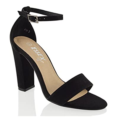 07313786345e6 ESSEX GLAM Womens Block Heel Ankle Strap Sandals Ladies Peeptoe Strappy  Party Shoes 3-8