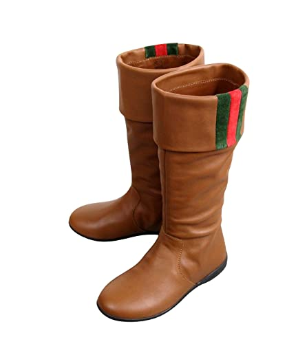 b783ae5c5 Gucci Kids Brown Leather Boots with Web Detail 285230 (G 27 / US 10.5)