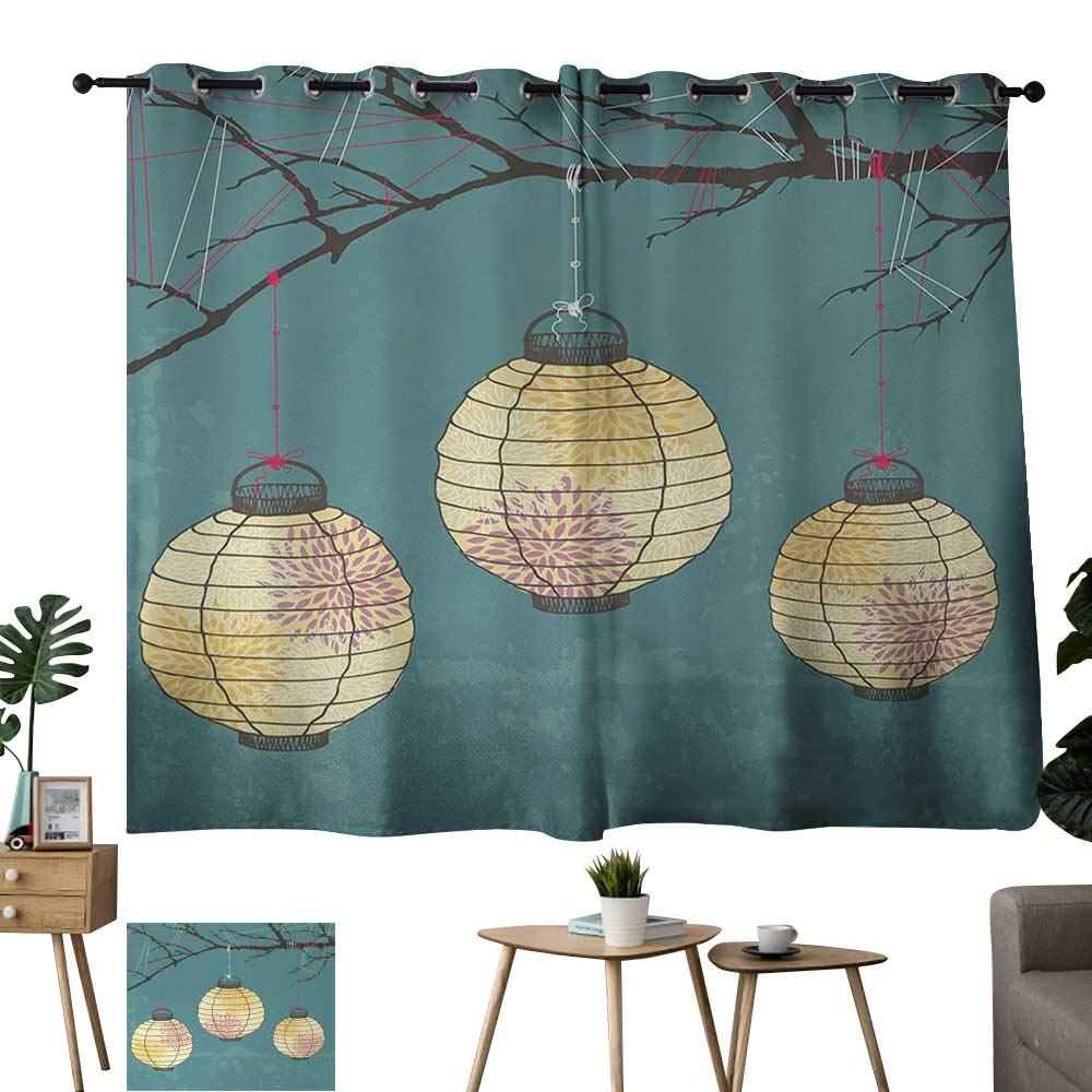 Warm Family Yellow Curtains Lantern,Three Paper Lanterns Hanging on Branches Lighting Fixture Source Lamp Boho,Teal Light Yellow 72''x108'',Bedroom Blackout Curtains