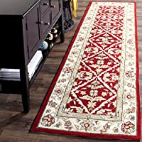 Safavieh Easy to Care Collection EZC717A Hand-Hooked Red and Ivory Runner (26 x 10)