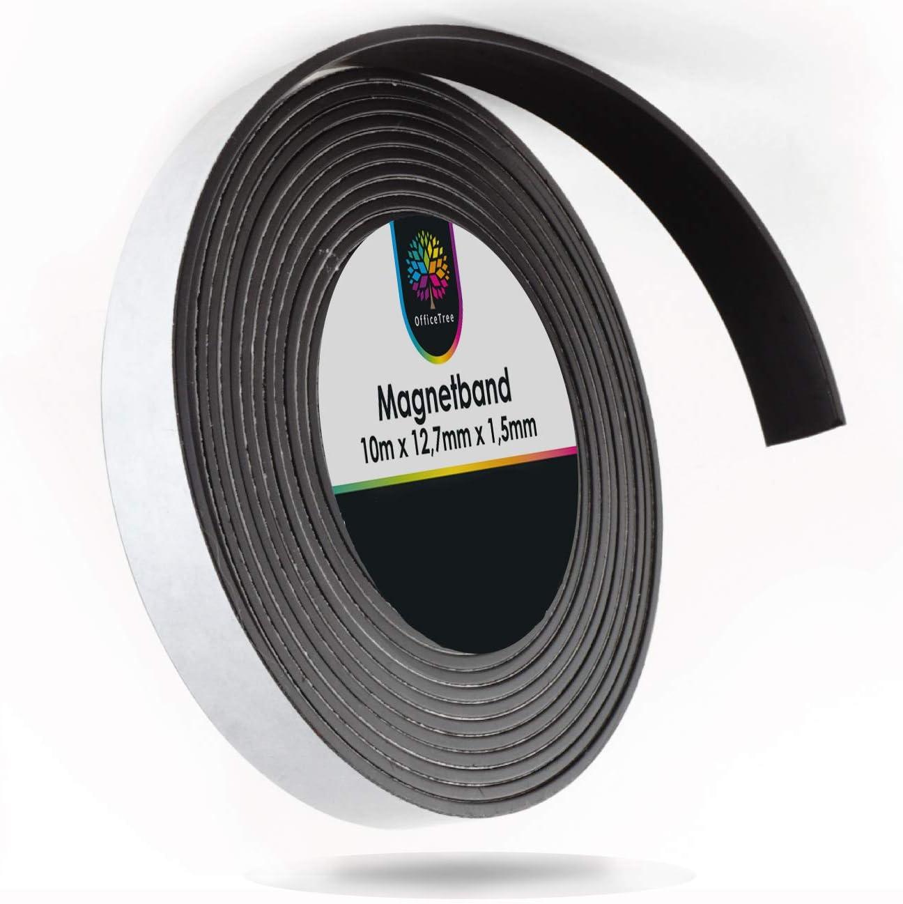 OfficeTree Cinta Magnetica Adhesiva 10 m - Tira de Iman para la imantación Fija de Carteles, Fotos, Papeles - Adherencia Extra Fuerte sobre Pizarra Blanca, Pizarra Magnética - Negro: Amazon.es: Hogar