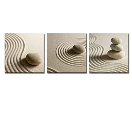 Zen Stone Wall Art Decal Canvas Prints, Stretched and Framed, Ready Wall Hanging,White Sand Stone Art Canvas Prints, Pictures Photos Frame 20 x20 x3panels,modern Interior Decoration