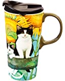 Cypress Home Sunflower Kittens Ceramic Travel Coffee Mug, 17 ounces