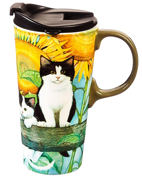 Cypress Home Sunflower Kittens Ceramic Travel Coffee Mug, 17 ounces