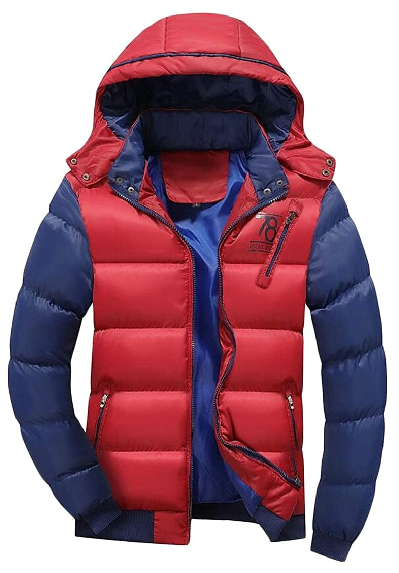M/&S/&W Mens Hooded Heavyweight Quilted Winter Zip Warm Down Jacket Coat