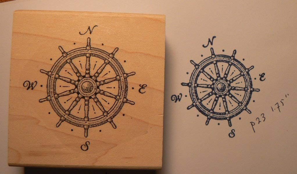 P23 Nautical compass rubber stamp