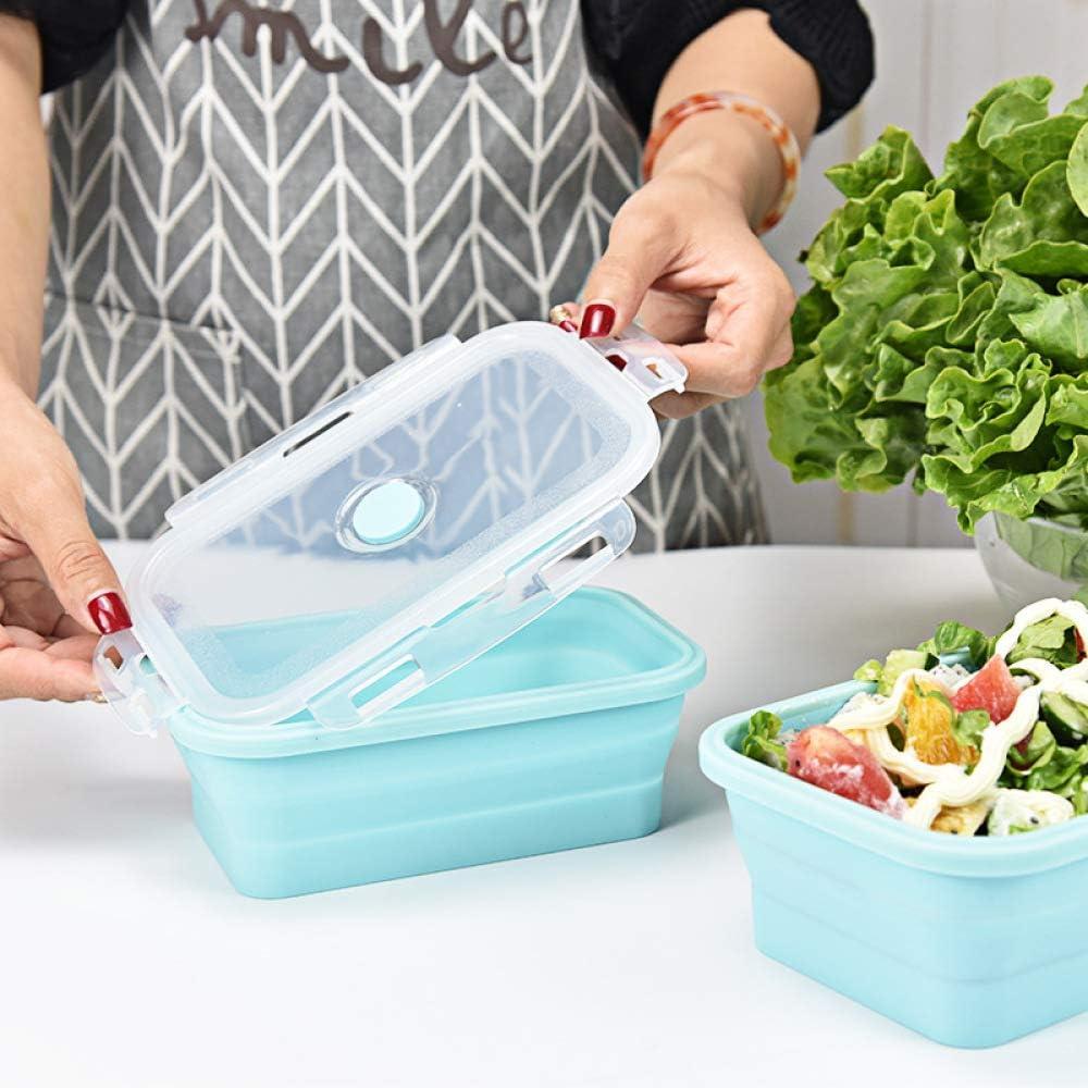 Lonchera plegable de silicona Eco Friendly Matetial Bowl port/átil para Picnic Office Workers School Blue 350-500-800ML