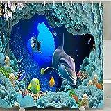 Fish Shower Curtains Bath Accessory Sets BROSHAN Sea Dolphin Ocean Animal Fish Coral Reefs Shower Curtain Waterproof Polyester Fabric Bath Curtain Set Mildew Resistant Bathroom Decor Set with Hooks,72x72 Inch,Blue,Teal,Turquoise,Aqua