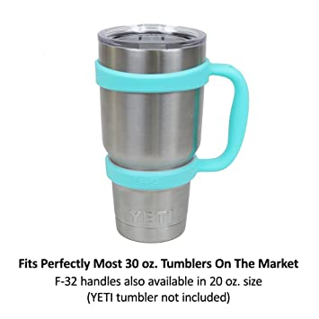 F-32 Handle - 19 COLORS - Available For 30oz or 20oz YETI, RTIC (PREVIOUS DESIGN), OZARK TRAIL, BEAST Rambler & More Tumbler Travel Mug - BPA FREE (30 OZ, SEAFOAM BLUE)