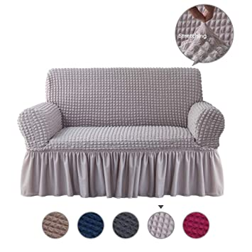 Incredible Alpha Belle 1 Piece Univeral Fit Easily Sofa Slipcover With Elastic Quick Drying Fabric Durable Stretchable Sofa Protector Couch Cover With Ruffle Pabps2019 Chair Design Images Pabps2019Com
