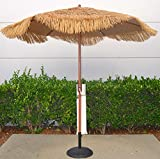 Cheap Bayside-21 9 Feet Patio Market Table Umbrella Thatch Patio Tiki Umbrella 9′ Cranking Lift Tiki Thatched Hula Outdoor Patio Umbrella Natural color (9ft 6 Ribs)