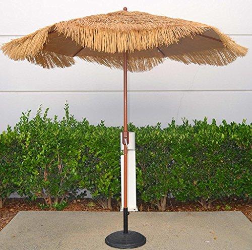 Bayside-21 9 Feet Patio Market Table Umbrella Thatch Patio Tiki Umbrella 9' Cranking Lift Tiki Thatched Hula Outdoor Patio Umbrella Natural color (9ft 6 Ribs)