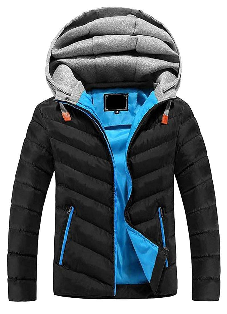 Cromoncent Mens Winter Thick Hooded Cotton-Padded Packable Down Jacket Parka Coat