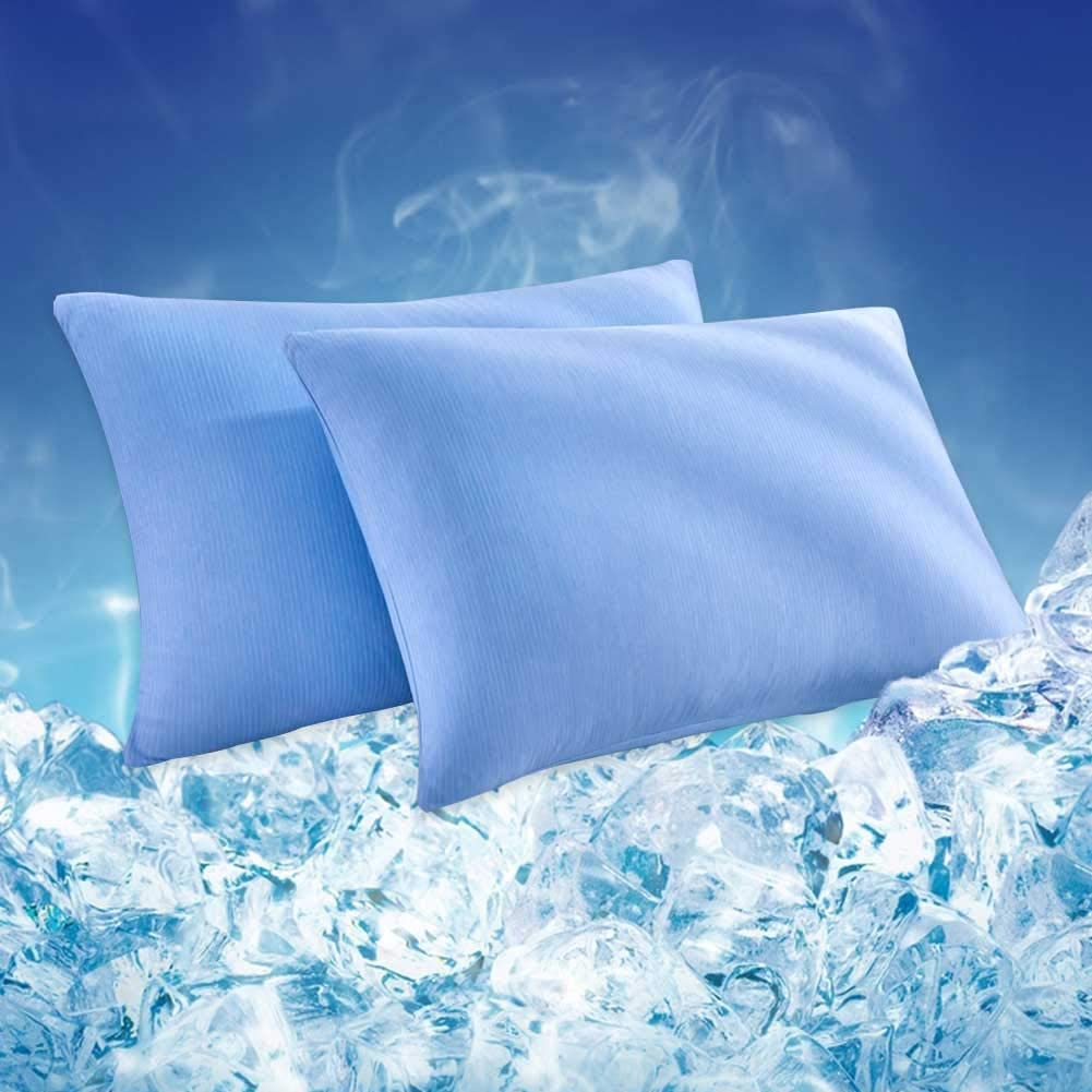 HOMBYS 2 Packs Cooling Pillowcases Queen Size, Both Sides Q-MAX 0.42 Cooling Fiber Pillow Covers,Breathable,Ultra Soft,Machine Washable,Envelope Closure End Easy Fit (Sapphire Blue, Queen)
